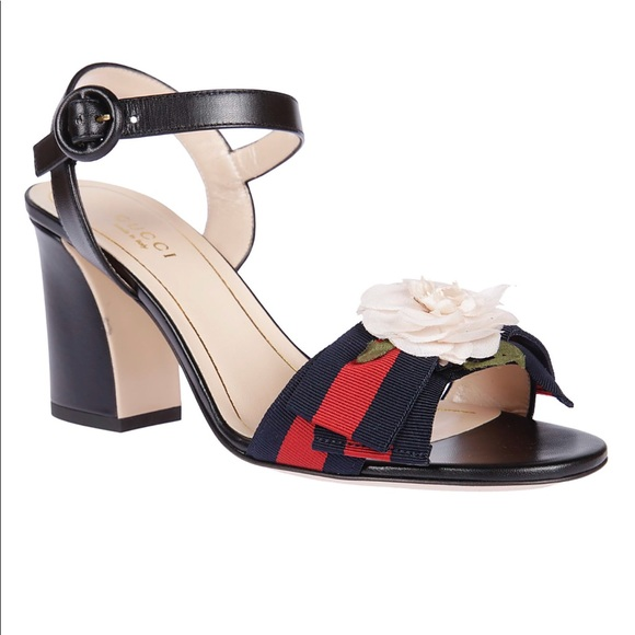 6ff8b37b545 Gucci Shoes - Gucci Silk Flower Web Block Heel Sandal Navy